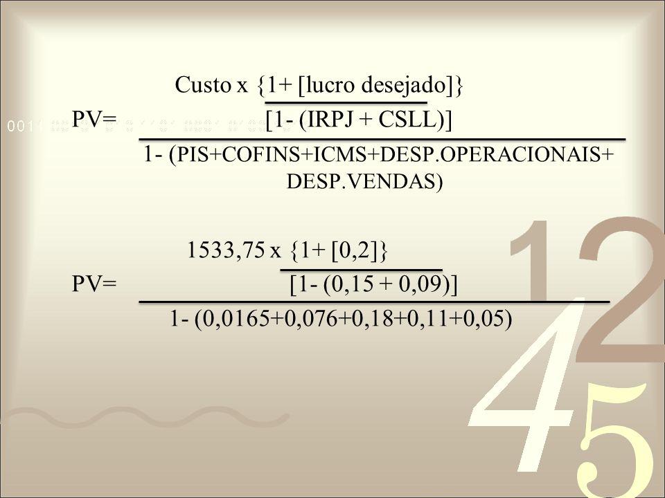Custo x {1+ [lucro desejado]} PV= [1- (IRPJ + CSLL)] 1- (PIS+COFINS+ICMS+DESP.OPERACIONAIS+ DESP.VENDAS) 1533,75 x {1+ [0,2]} PV= [1- (0,15 + 0,09)] 1- (0,0165+0,076+0,18+0,11+0,05)